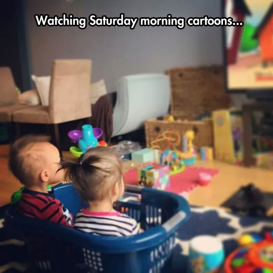 cute-kids-watching-TV-laundry-basket