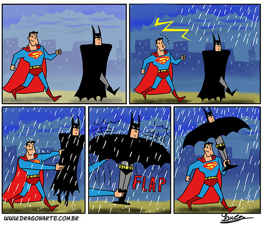 funny-Batman-Superman-raining-umbrella