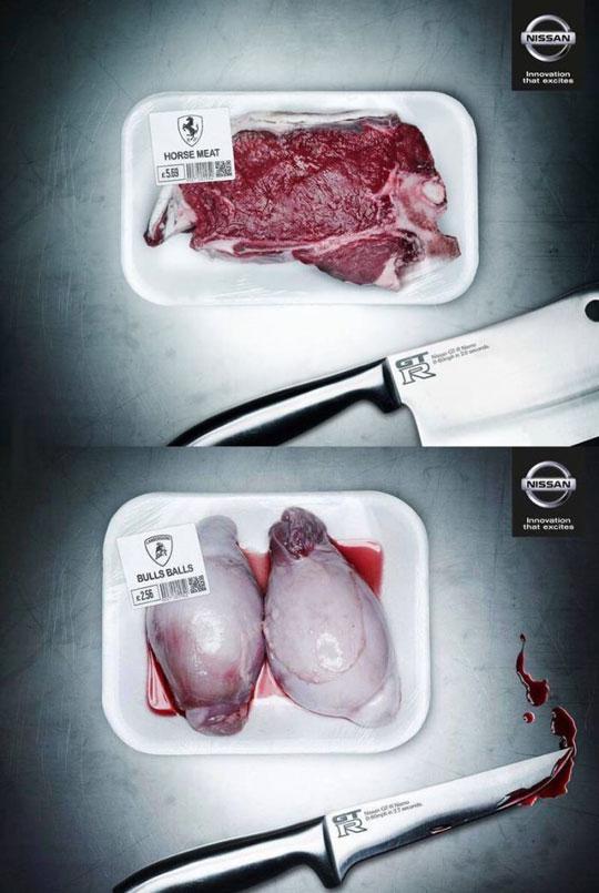 funny-Nissan-ad-meat-Ferrari-cars