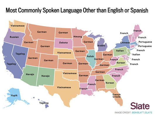 Most Common Language By State Besides English or Spanish