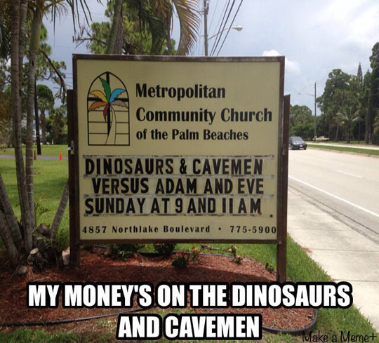 funny-dinosaurs-cavemen-sign-Versus-Adam-Eve