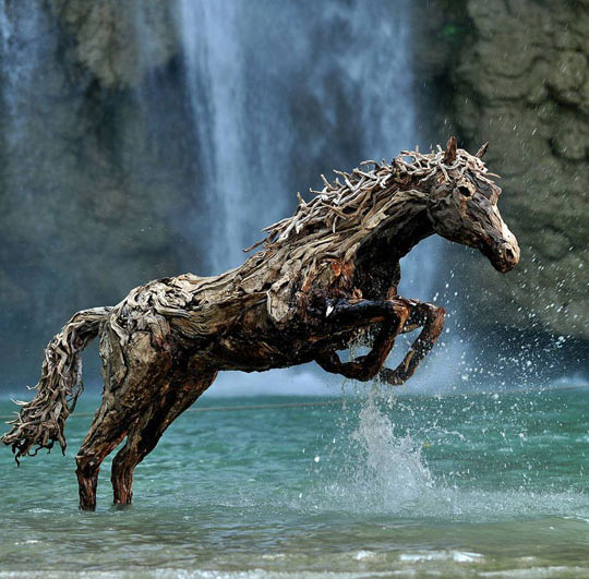 Driftwood Horse In A Lake