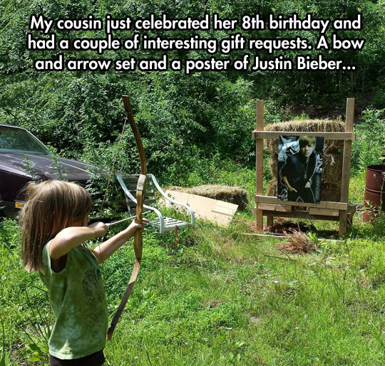 funny-girl-bow-arrow-Justin-Bieber-poster