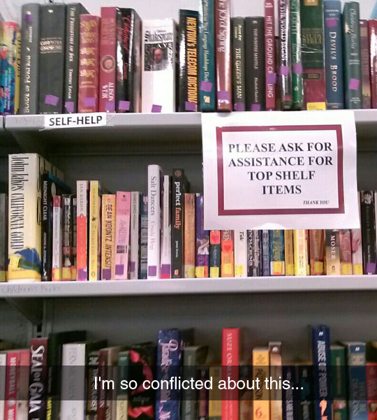 funny-library-sign-self-help-shelf