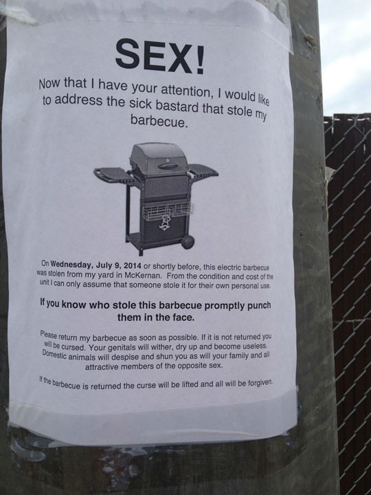 Barbecue Thief Will Be Cursed