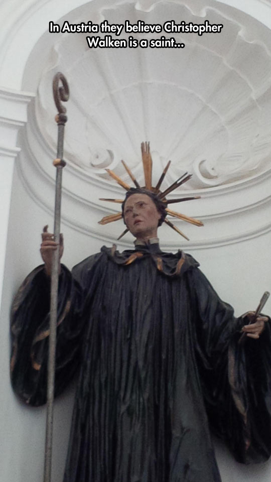funny-statue-church-Christopher-Walken