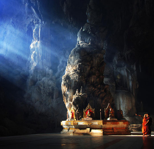 A Buddhist Temple Inside A Cave