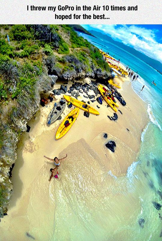 cool-aerial-selfie-beach-kayak
