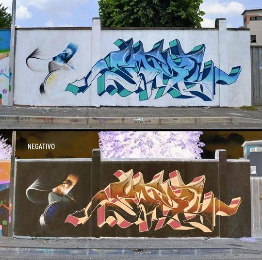Negative Graffiti By Italian Artist Cheone