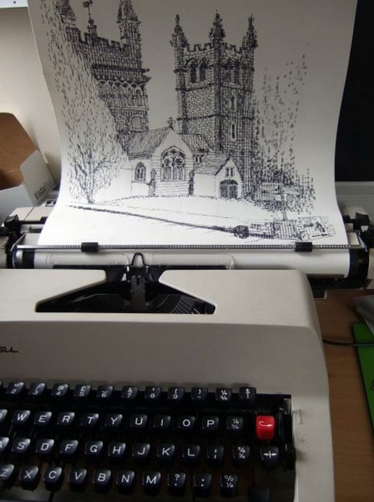 cool-typewriter-art-castle