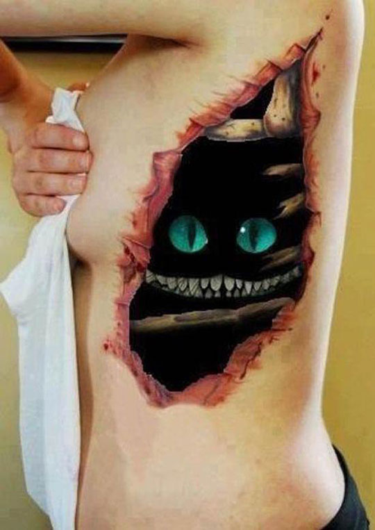 funny-Cheshire-Cat-tattoo-chest