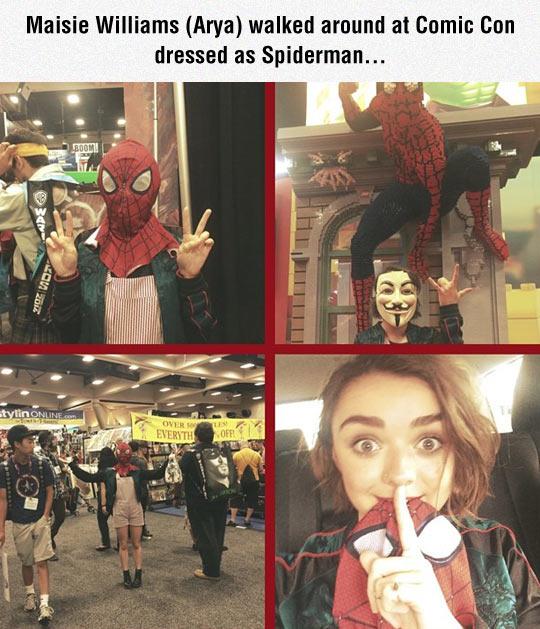 funny-Maisie-Williams-Comic-con-Spiderman