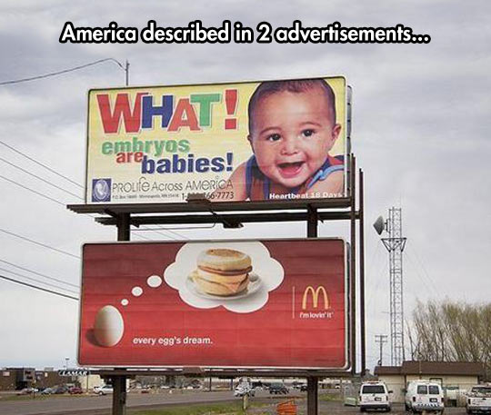 America Summed Up In Two Ads