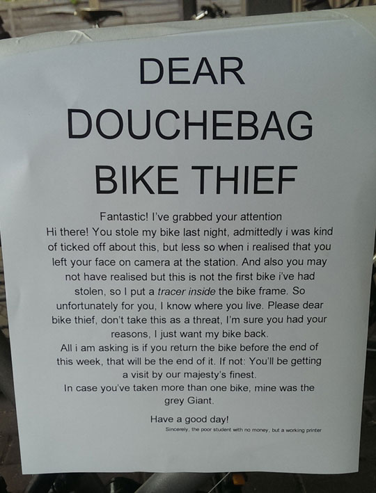 A Letter To The Bike Thief