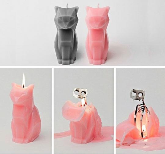funny-candle-cat-skeleton-metal-melt