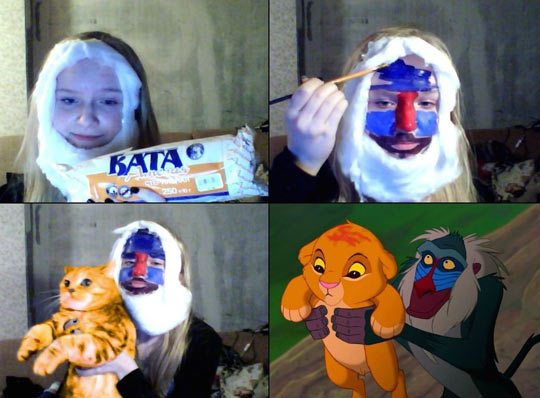 funny-girl-makeup-cosplay-Rafiki-Lion-King