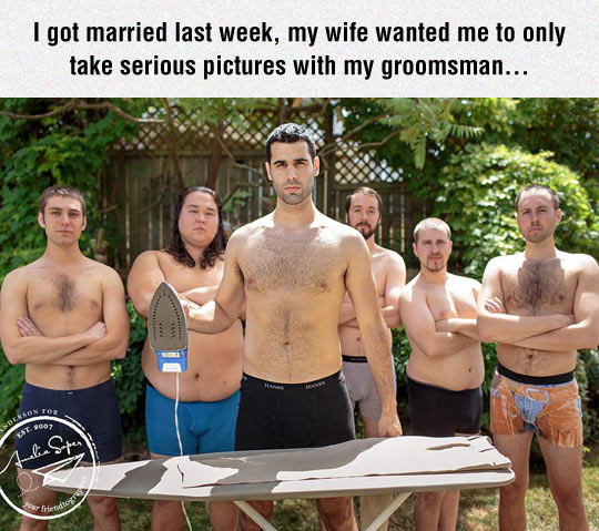 Funny Wedding Pictures Ideas: Serious Groomsman Picture