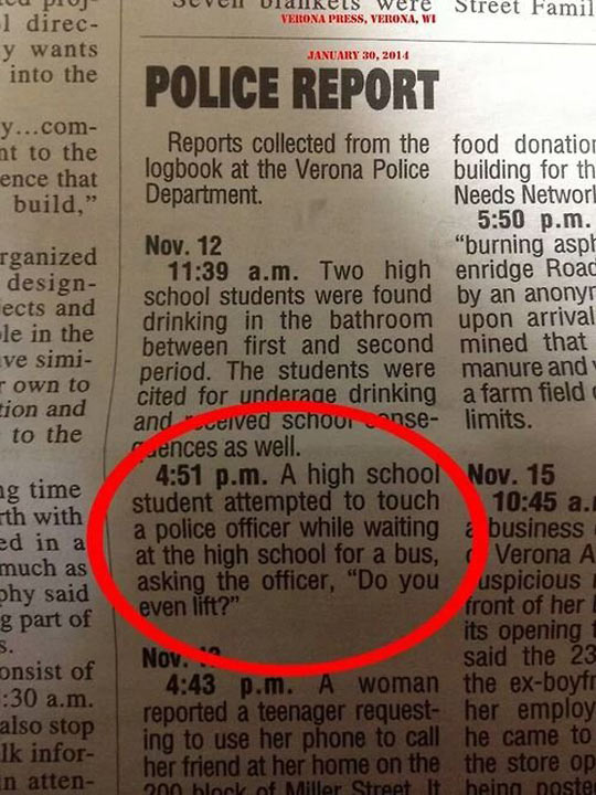 A Very Particular Police Report