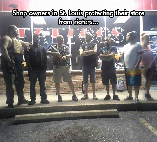 Shop Owners Defending The Street