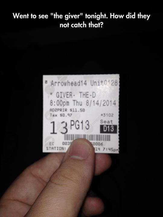 Awkward Cinema Ticket