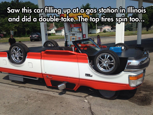 funny-upside-down-truck-tires-gas-station