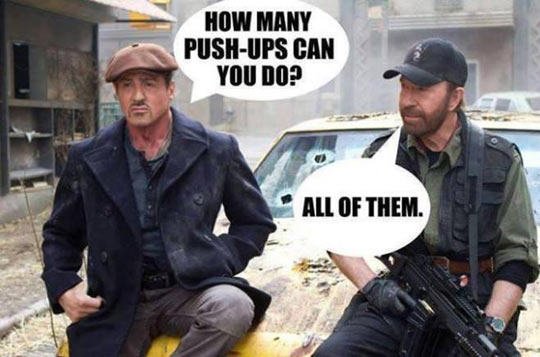 Chuck Norris Just Pushes The Ground Away From Him
