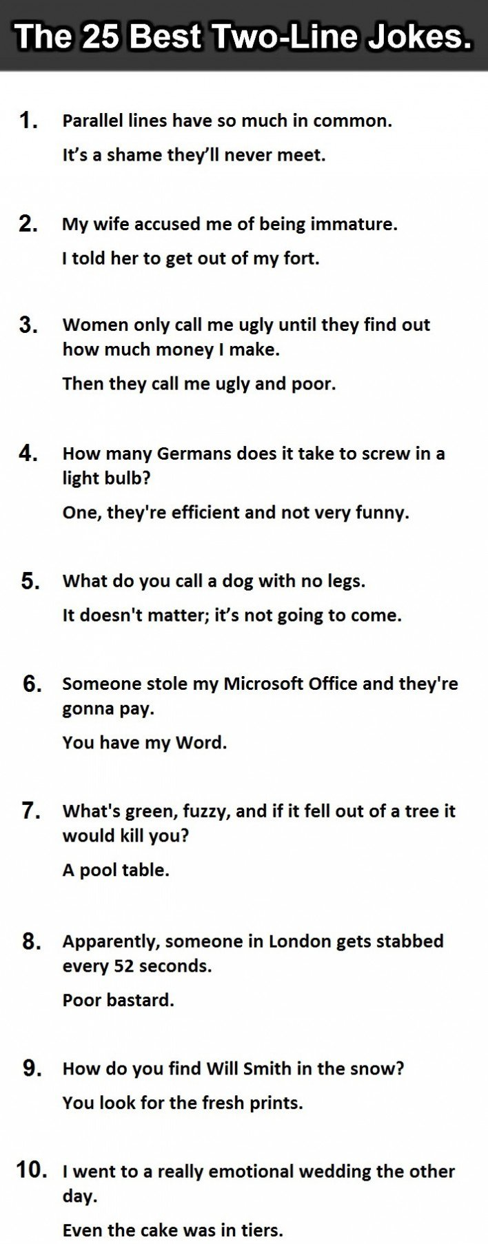 The 25 Best Two-Line Jokes Ever. #14 Is Priceless