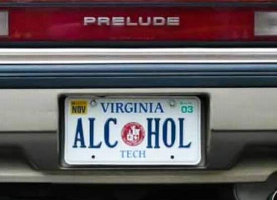 Alcohol funny license plates