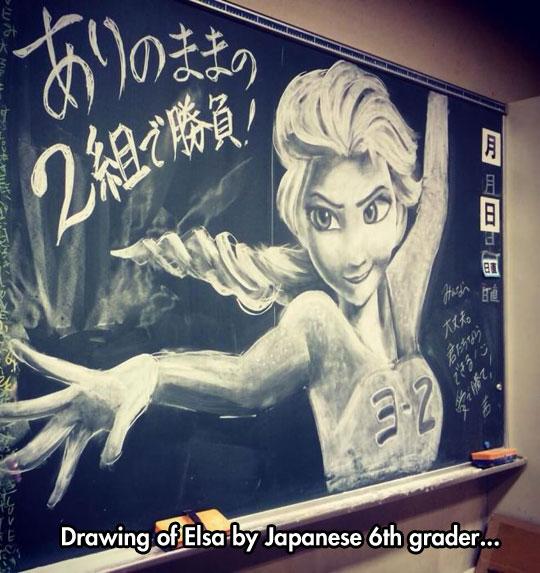 cool-Elsa-drawing-blackboard-chalk