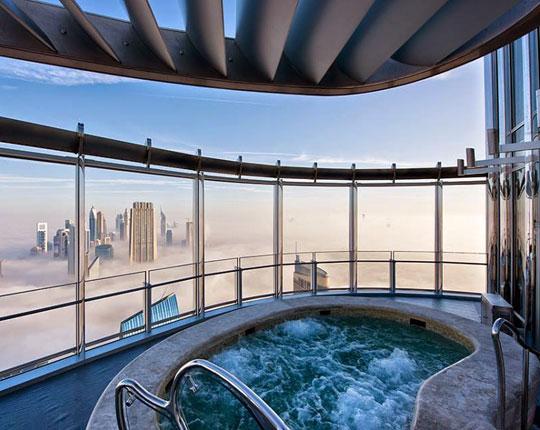 Enjoying A Hot Bath Above The Clouds