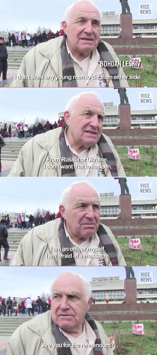 Old Dude At Russian Protest In Crimea