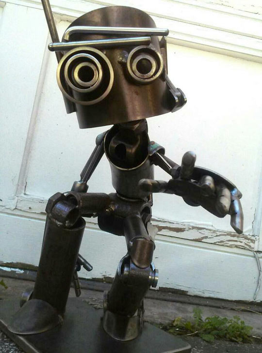 Neat Sculpture Of A Friendly Robot