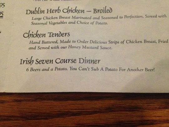 Irish Seven Course Dinner