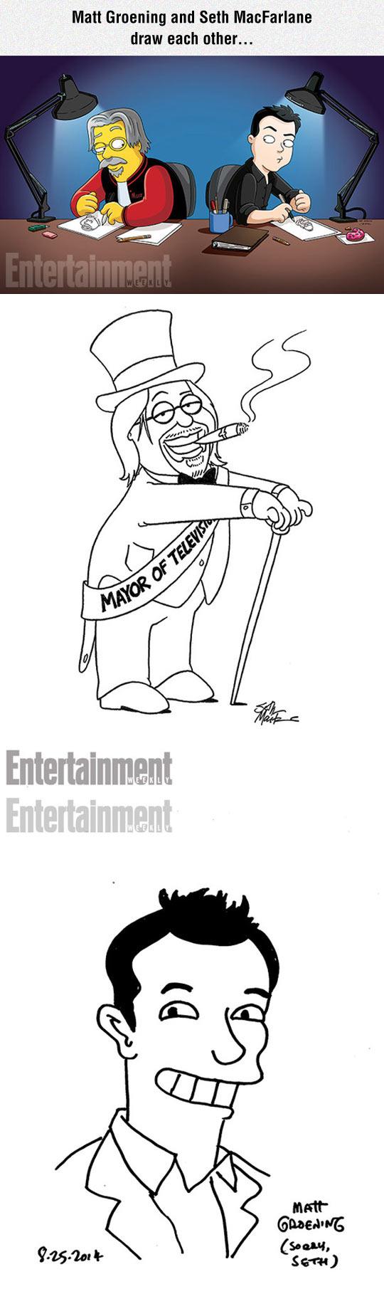 funny-Matt-Groening-Seth-MacFarlane-drawing-each-other