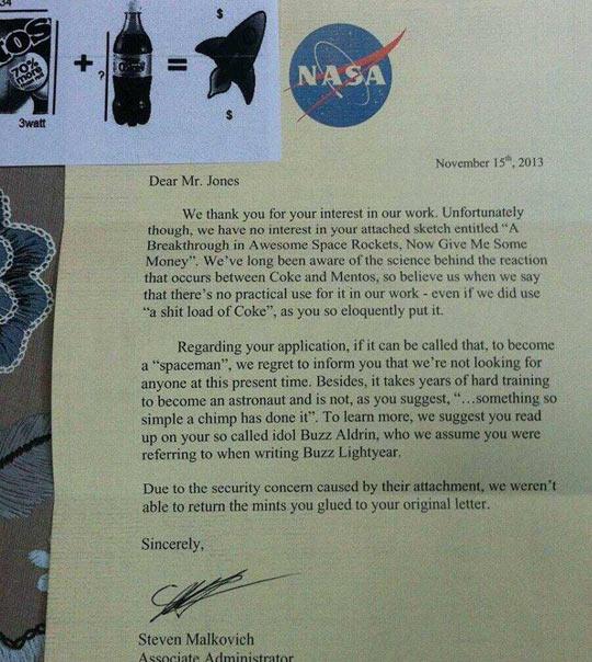 Response From NASA