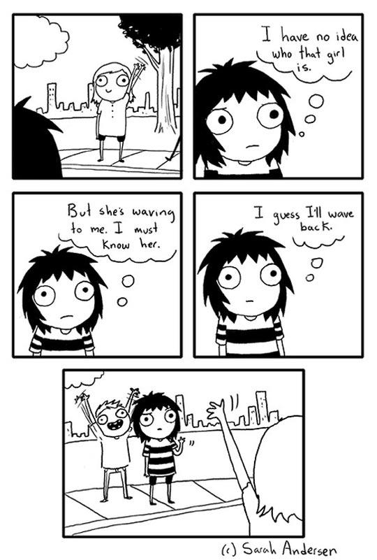 funny-girl-waving-strange-comic