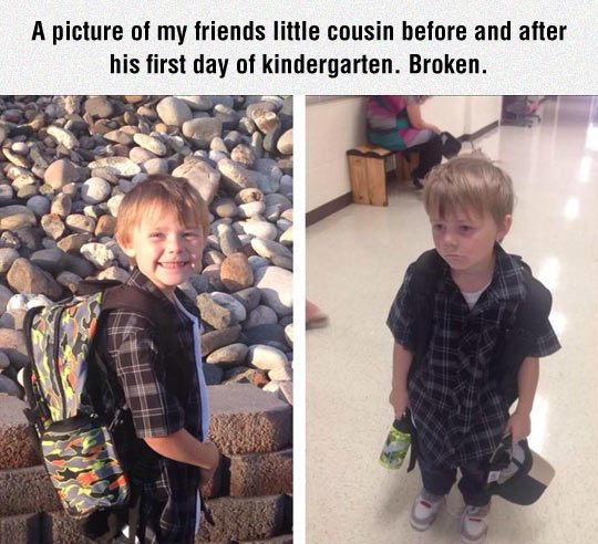 Before And After The First Day Of Kindergarten