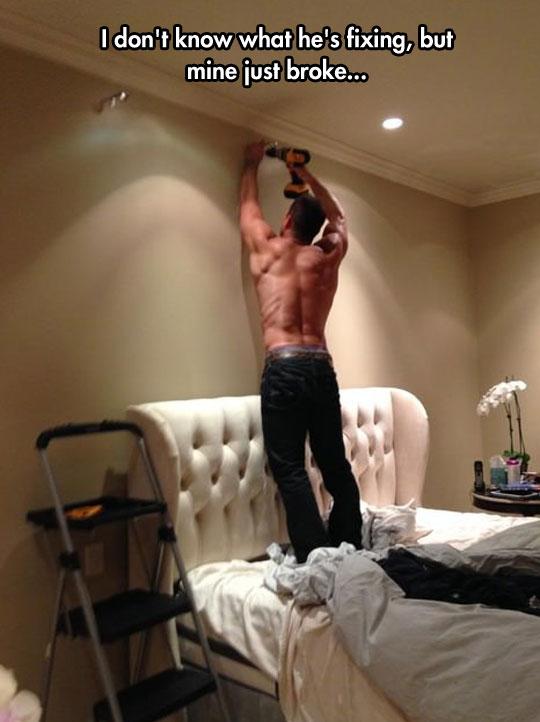 funny-man-drill-wall-shirtless
