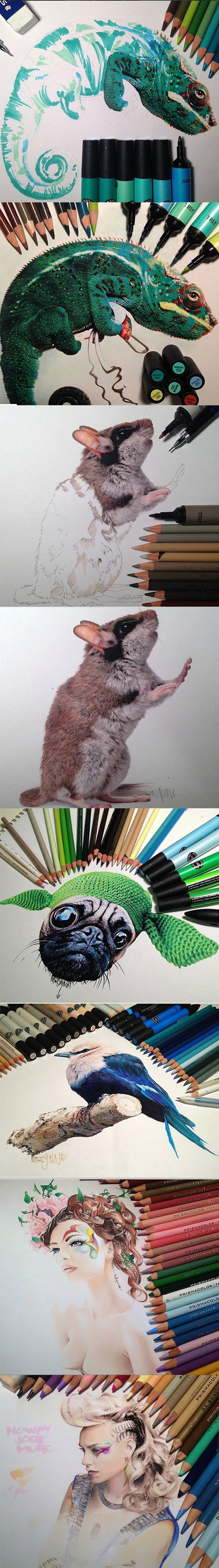 funny-painting-pencils-chameleon-mouse