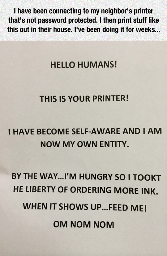 Printer Has Become Self-Aware