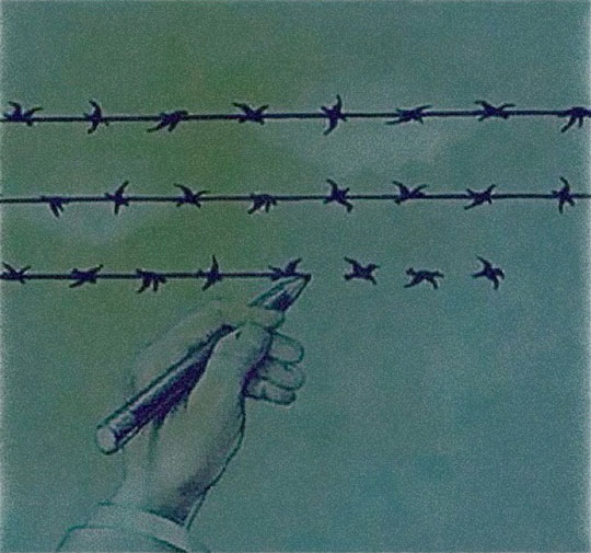 cool-drawing-hand-difference-birds-barbed-wire