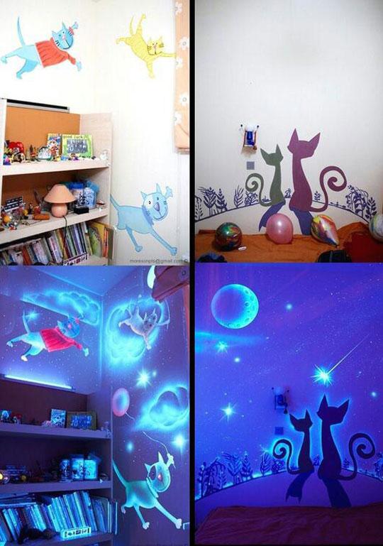 cool-glow-dark-cats-wall
