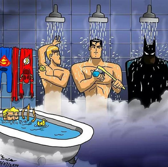 Justice League Shower, Pay Attention To Aquaman
