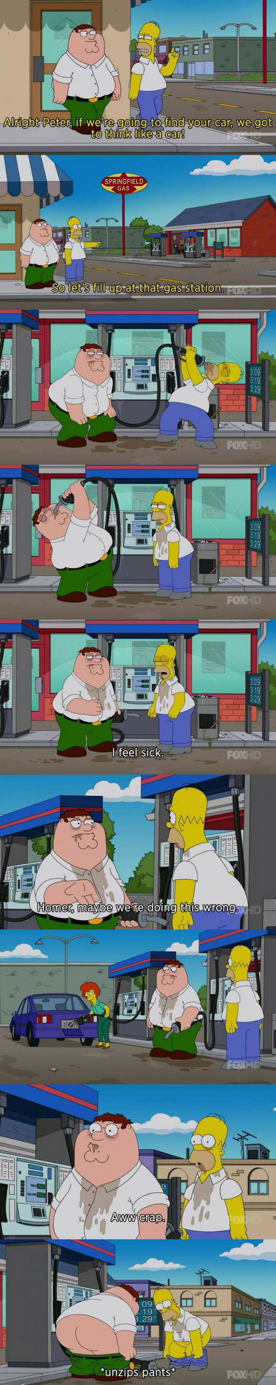 funny-Simpsons-Family-Guy-crossover-gas-station