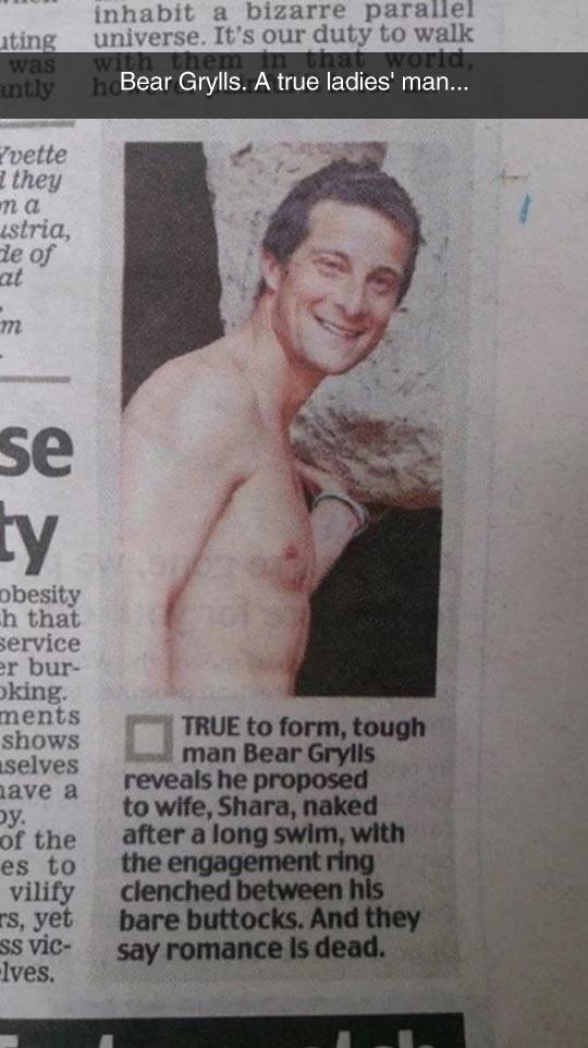 Bear Grylls Is A Romantic