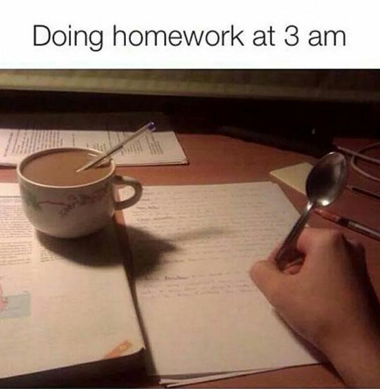funny-homework-night-sleepy-spoon-pen