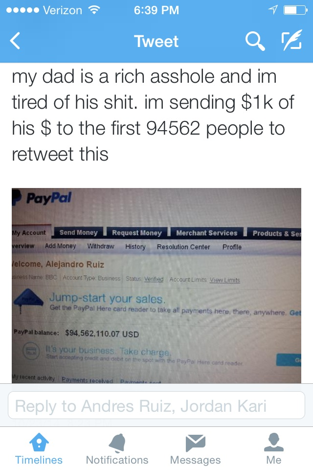 Kid is sick of his dad being an asshole, gives away the $94 million in his Paypal account