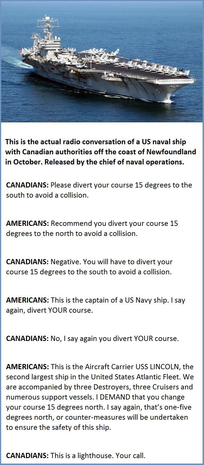 US Naval Ship Vs Canadian Authorities. This Is Priceless.