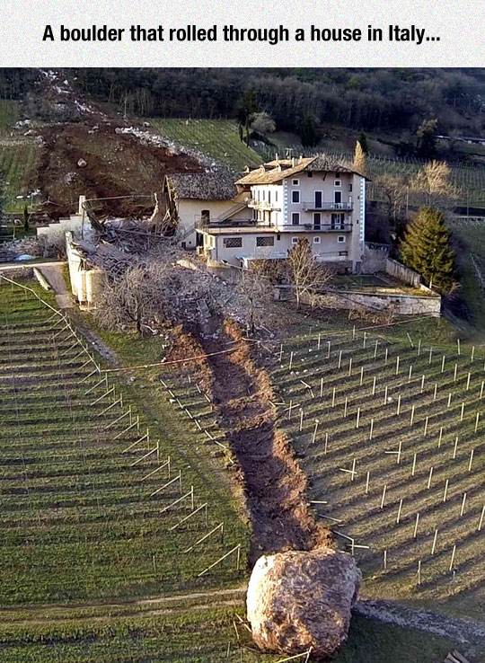Boulder Smashes Through Italian Farm