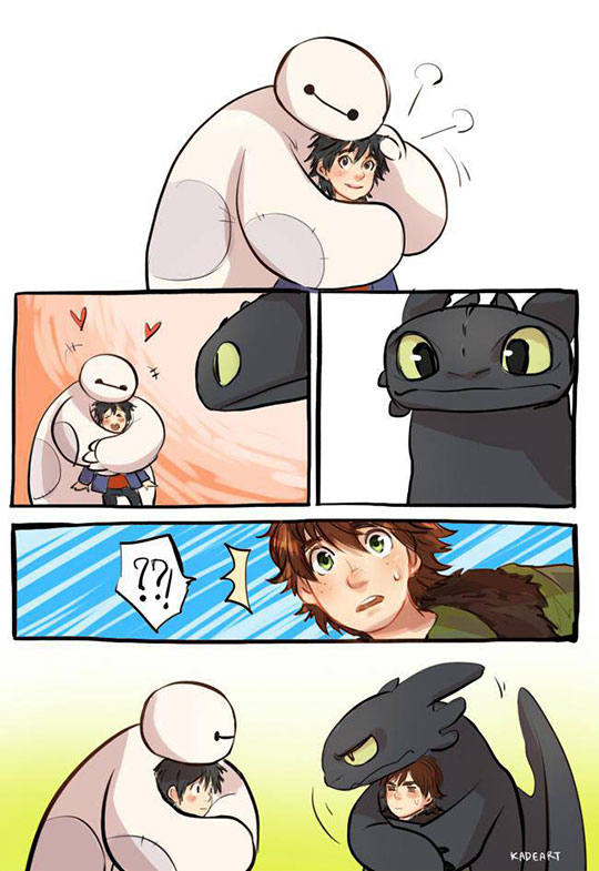 Adorable Baymax And Toothless